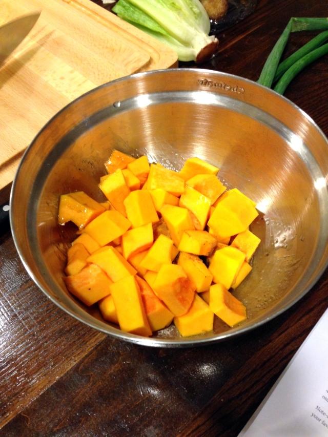 ... butternut squash. Add salt, lime juice and cumin to the squash. I like